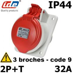Prise inclinée 2P+T 32A IP44