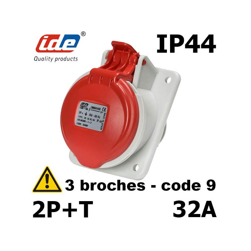 Prise inclinée 2P+T 32A IP44 IDE