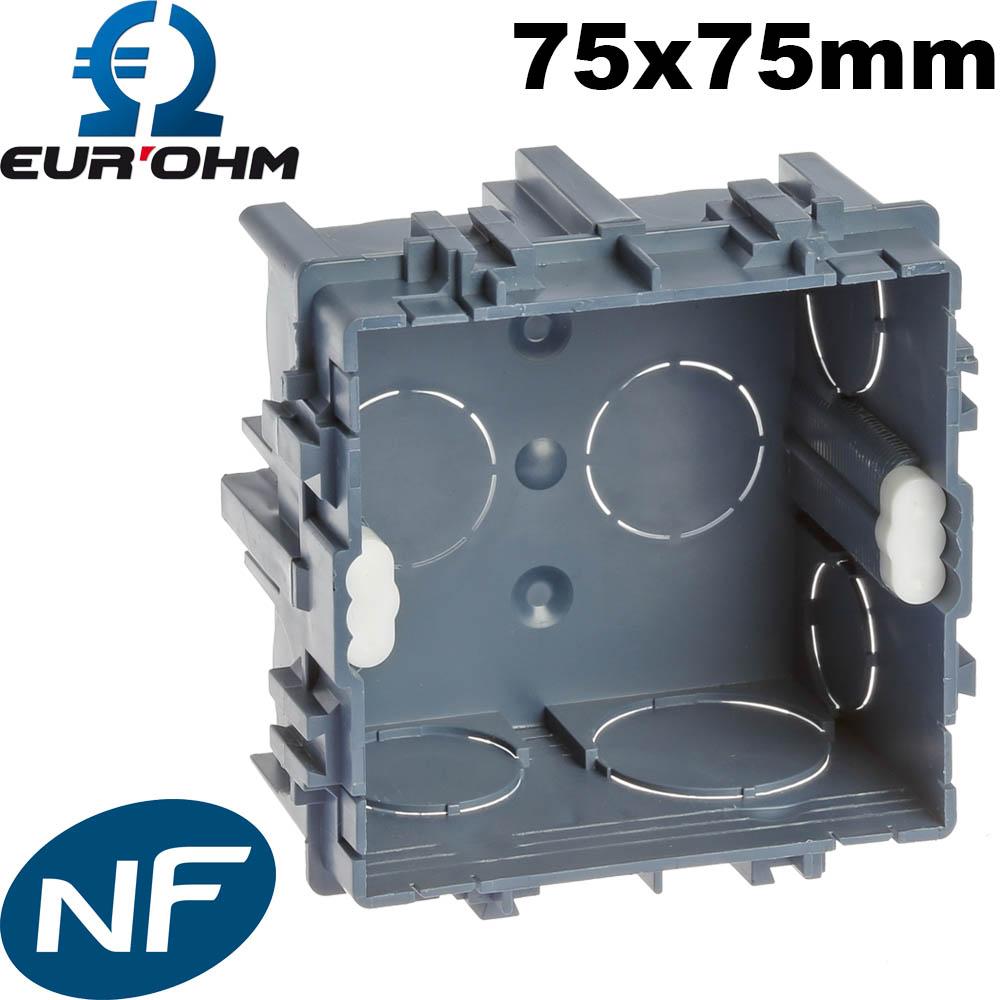 Boite Cache Prise Electrique boite maçonnerie batibox 75x75 carrée à sceller à 0,42€ ht