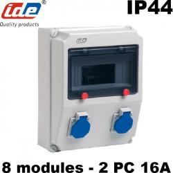 Coffret de prise PRYMA étanche IP44 IK08 avec prise 2P+T 16A