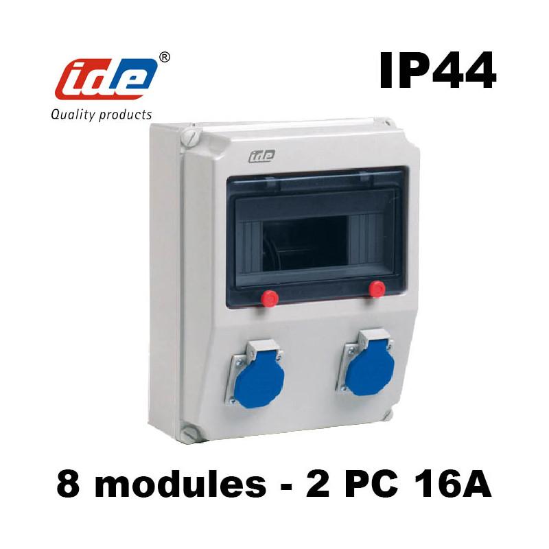 Coffret de prise PRYMA IP44 IK08 avec prise 2P+T 16A IDE