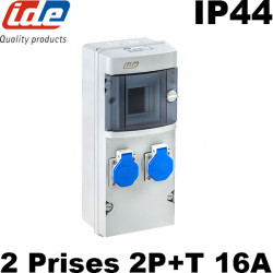 Coffret d'atelier étanche IP44 avec 2 prises 2P+T 16A SANS DISJONCTEUR