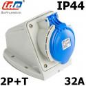 Socle de prise 32A 2P+T en saillie étanche IP44