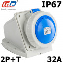 Socle de prise 32A 2P+T en saillie étanche IP67