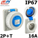 Prise française 2P+T IP54 à encastrer sur coffret. IDE