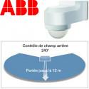 Angle de détection du détecteur infrarouge ABB Basic LINE étanche IP55