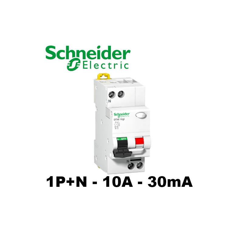 Disjoncteur différentiel DT40 1P+N 10A 30mA - Schneider A9N21442