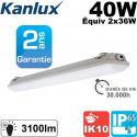 Reglette néon 2x36W étanche + 2 tubes fluo Kanlux Éclairages