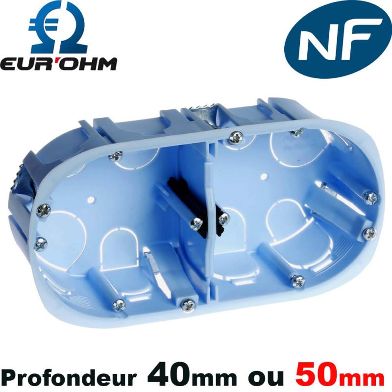 Boite d'encastrement placo double - Sans membranes - Ø67mm Eur'Ohm