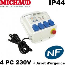 Coffret de chantier Michaud - 4PC Mono 16A avec Arret Urgence