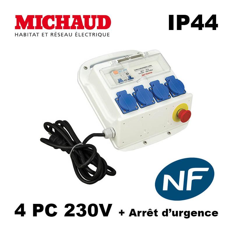 Coffret de chantier Michaud - 4PC Mono 16A avec Arret Urgence Michaud