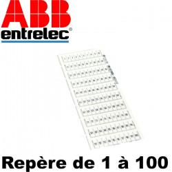 Carte d'étiquette pré-marqué pour borne Entrelec