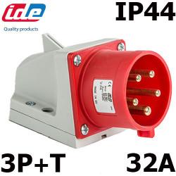 Socle de prise male en saillie 32A 3P+T 380V étanche IP44