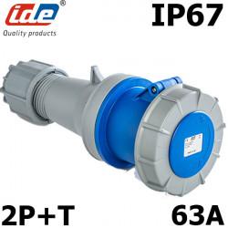 Prise mobile femelle 63A Monophasé 2P+T IP67