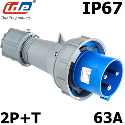 Prise male 63A Monophasé 2P+T IP67 IDE