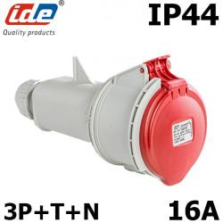 Fiche femelle 5 broches 380V pour prolongateur 16A tétrapolaire IP44 ou IP67