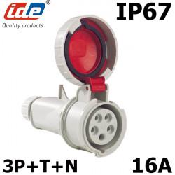 Fiche femelle 380V pour prolongateur 16A tétrapolaire IP44 ou IP67 IDE