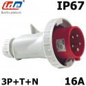 Fiche mâle tétrapolaire 16A IP44 ou IP67 IDE