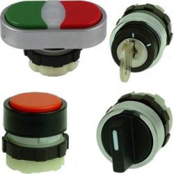 Bouton de commande industriel, bouton poussoir, rotatif à 3€
