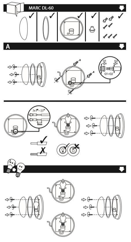 installation hublot ou plafonnier etanche kanlux 07015
