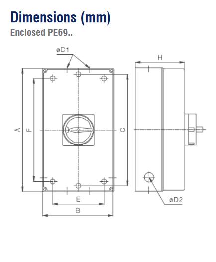 dimensions Interrupteur de proximité 3P ou 4P de 20A à 125A dessins
