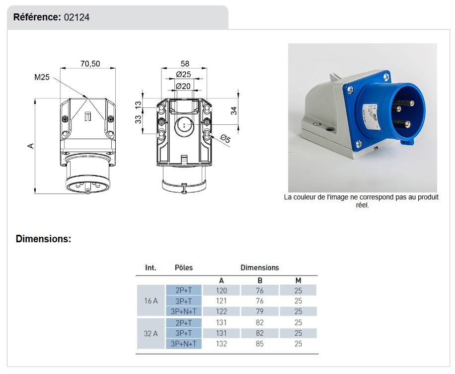 Dimensions socle de prise mâle 32A 2P+T en saillie étanche IP44