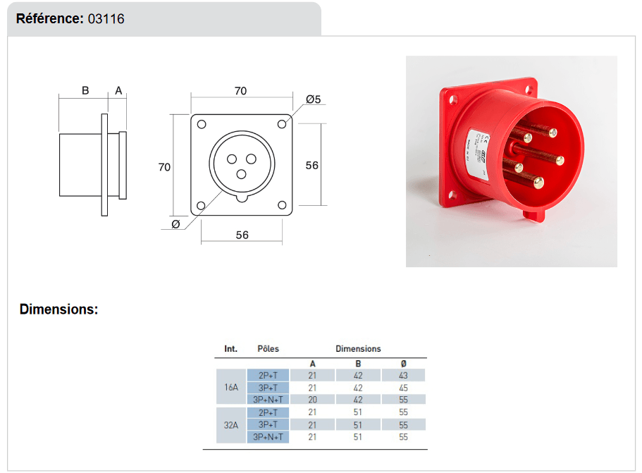 dimensions Embase male a encastrer 32A 3P+T+N IP44 380V