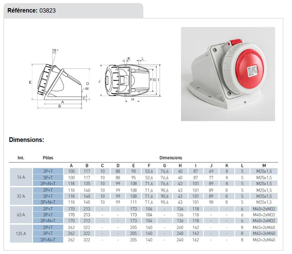 dimension Socle mural prise 3P+N+T 16A etanche IP67 en 380V