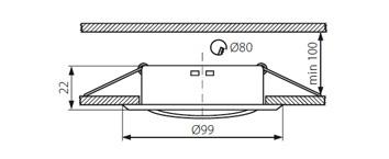 Dimensions Support spot GU10 encastrable orientable 30 degre laque blanc 99mm 26795 kanlux