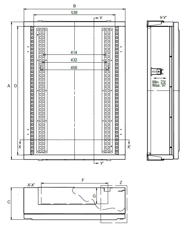 Schema des dimensions de l'armoire IDE Atlantic IP65